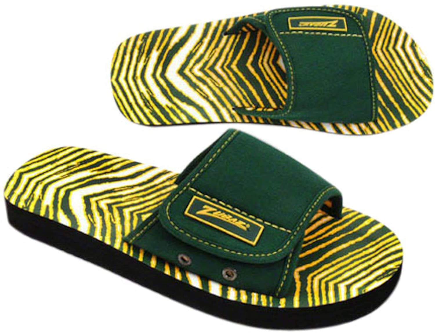 Zubaz Supreme Slide Sandals - (Green/Gold) Medium - Men's 9/10, Women's 11/12