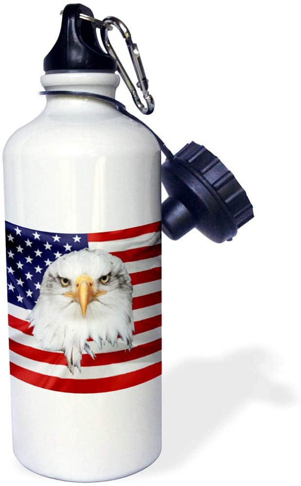 3dRose Alexis Design - American Flag Bald Eagle - Bald Eagle Looks at You Over The American Flag. Nice 21 oz Sports Water Bottle (wb_325315_1)