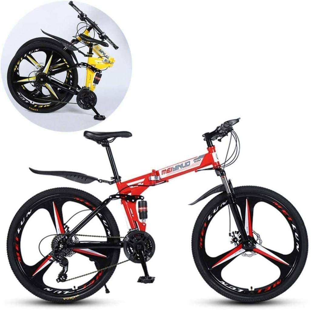 CSS Mountain Bikes, Folding High Carbon Steel Frame 26 inch Variable Speed Double Shock Absorption Three Cutter Wheels Foldable Bicycle 7-14,Red,24 Speed