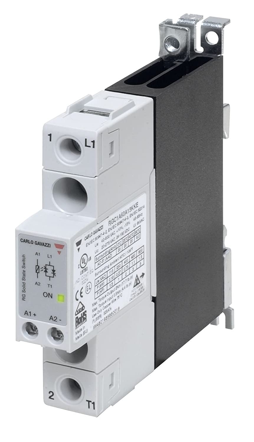 CARLO GAVAZZI RGC1A60D15KGU Solid State Relay and Contactor, Slim 17.5 mm Width, Maximum 20 amp AC Switching, Up to 3 hp Rated, 3-32 VDC Control Voltage, 42-600 VAC Switching, 1200 Vp Blocking Voltage, IP20 Cover, Diagnostic LEDs, 9.2 oz. Size, 27 mm Height x 150 mm Width x 186 mm Diameter