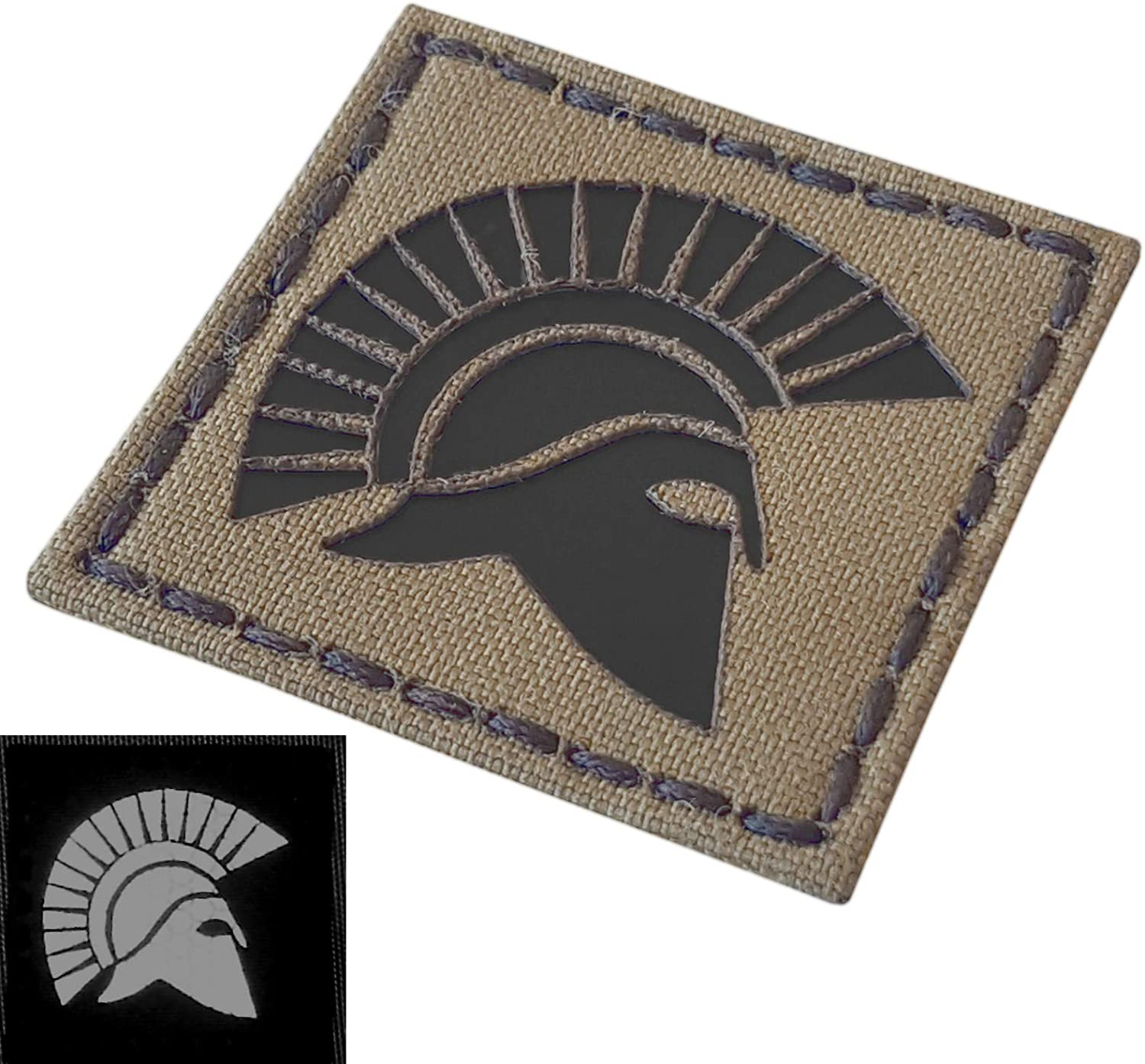 Coyote Brown IR Spartan Molon Labe Warrior 2x2 Tan Arid IFF Tactical Morale Hook-and-Loop Patch
