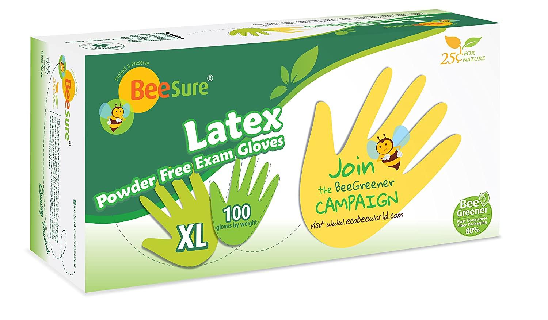 BeeSure BE2819 Latex Powder Free Exam Gloves, X-Large (Pack of 100)