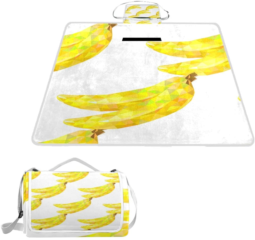 ILEEY Double Layer Abstract Triangles Bananas Pattern On White Background Beach Blanket Sand Proof Picnic Tote Bag Mat 2 in 1 Function for Travel Water Resistant for Outdoor Camping Sports