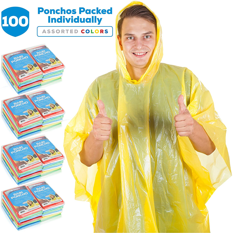 Wealers Rain Ponchos for Adults Teens Disposable Rain Poncho Bulk Pack Women Men Emergency Raincoat Big Groups Theme Parks Camping Outdoors Multi Colors Waterproof Rain Ponchos (100 Pack Ponchos)