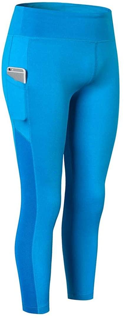 SOUTHSKY Women's High Waist Side Pocket Fitness Yoga Seven-Minute Pants Slim Leggings for Running Jogging (XL) Blue