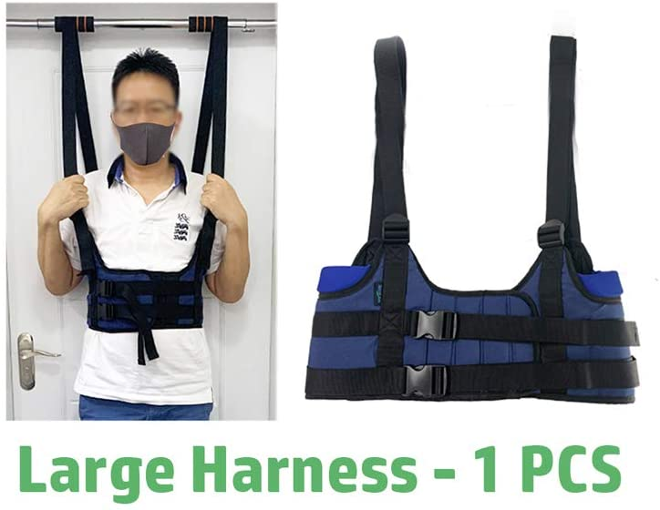 Back Stretcher Lumbar Traction Device Spinal Decompression Harness Belt Spine Stretcher Realignment Device Therapy Disc Machine Back Pain Relief Chest Harness Only (L 43~48