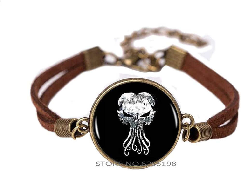 Handmade Cthulhu Bracelet, Kraken Glass Dome Bangle, Gift for Her Him, nekel Free Jewelry,Dainty Bracelet,Simple Bracelet,N138