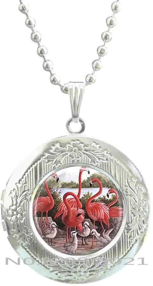 maoqunza Flamingo Locket Necklace Tropical Bird Pendant,Summer Locket Necklace, Animal Present, Flamingo Gifts -RG14