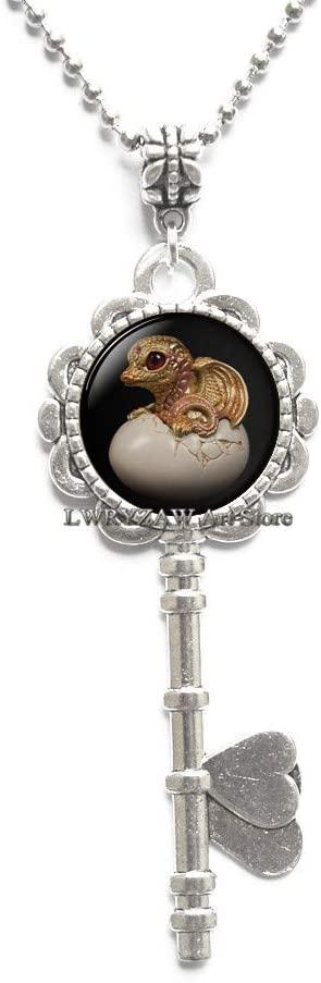 Dragon Egg Key Necklace,Dragon Skin Pendant,Mythology Jewelry,Fantasy Art Pendant,Simple Key Necklace,Handmade Key Necklace,M323
