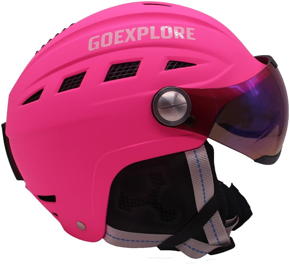 GOEXPLORE Snowboarding Helmet with PC Visor Adult Kids ABS+EPS Integrally Light Outdoor Sport Ski Snow Skateboarding Skiing Helmet Men