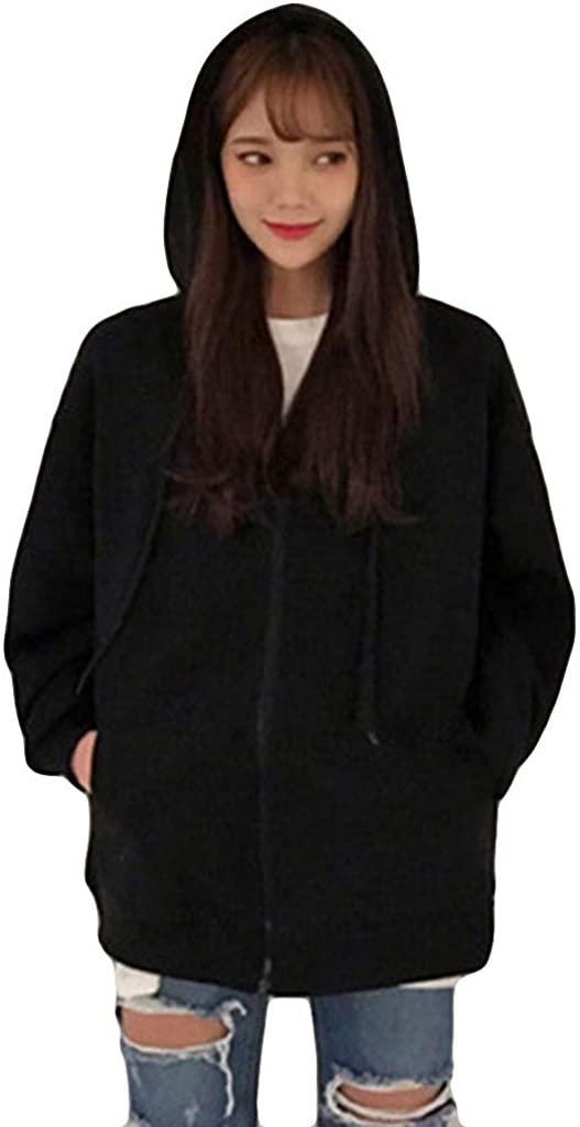 nightfall Ladies Plain Hoodie Womens Long Sleeves Zip Hoodie Hooded Jacket Coat Autumn Warm Soft Comfortable Oversize Black