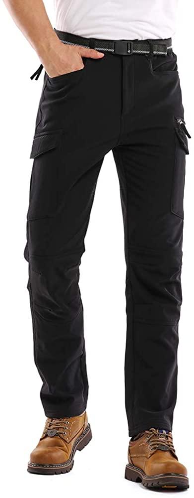 Toomett Men's Snow Ski Fleece Pants Fleece Lined Soft Shell Outdoor Waterproof Hiking Bottoms 6076,Black,40