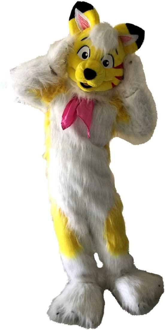 Yellow Fox Dog Husky Mascot Costume Character