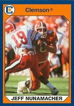 Jeff Nunamacher Football Card (Clemson) 1990 Collegiate Collection #53