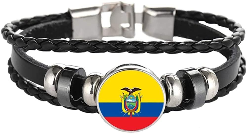 Ecuador Flag Braided Bracelet Leather Chain Crystal Wristband Souvenir,Fashion Handmade Bracelet for Man & Woman Special Days Gift