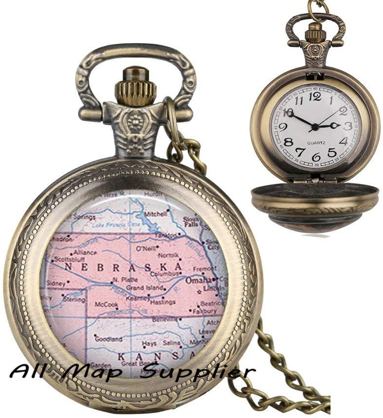 AllMapsupplier Fashion Pocket Watch Necklace,Nebraska map Pendant Nebraska map Pocket Watch Necklace Nebraska Pendant Nebraska Pocket Watch Necklace,map Jewelry,A0123