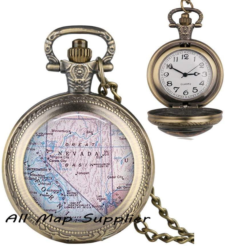 AllMapsupplier Fashion Pocket Watch Necklace,Nevada map Pendant,Nevada Pocket Watch Necklace,Nevada map Pocket Watch Necklace,Nevada Pendant,map Jewelry,State map Jewelry,A0180