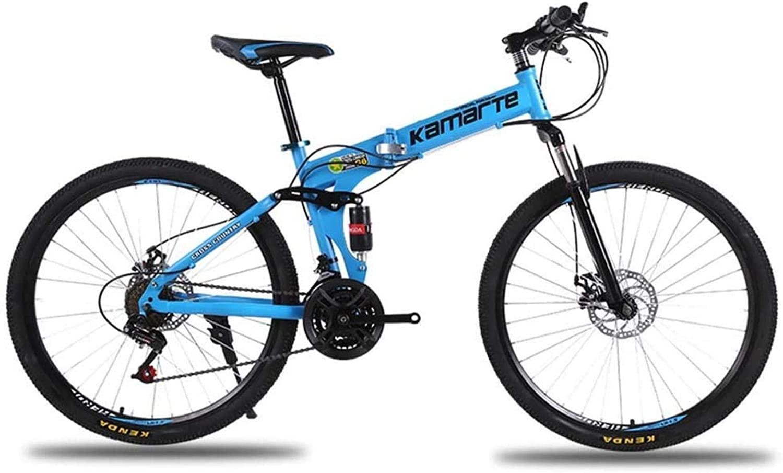 MJY Folding Bike,Mountain Bicycle,Hard Tail Bike,26Inch 21/24/27 Speed Bicycle,Full Suspension MTB,Adult Student Variable Speed Bike 5-29,21 Speed