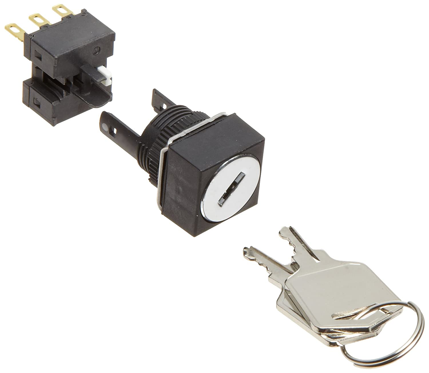Omron A165K-A2ML-1 Key Type Selector and Switch, Solder Terminal, IP65 Oil Resistant, 16mm Mounting Aperture, 2 Notches, Manual Reset Method, Left Key Release Postion, Square,Single Pole Double Throw Contacts