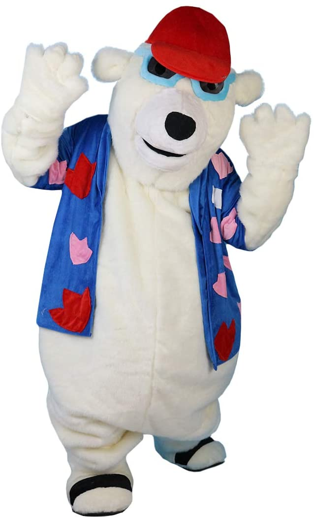 Polar Bear Cartoon Costume Mascot Plush with Mask for Adult Cosplay Party Halloween Dress Up