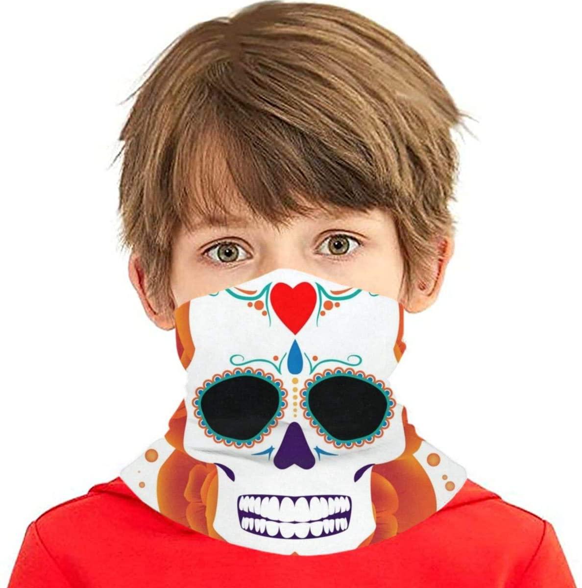 N\ A Hippie Happy Halloween Skull Floral Kids Face Mask Uv Sun UPF Mask Dust Wind Neck Gaiter Cooling Ice Silk Bandana Boys Girls Cloth Reusable Washable