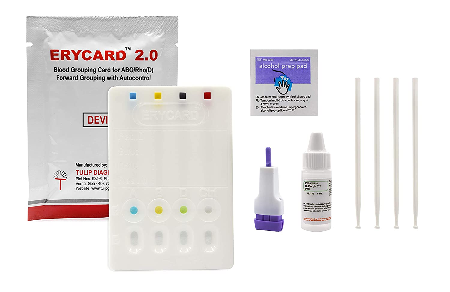 Premium Erycard ABO/RH Blood Typing Card - for Educational Use - Laboratory Activity (NOT for Medical/Clinical Use) - Enough Material for 1 Test - Innovating Science