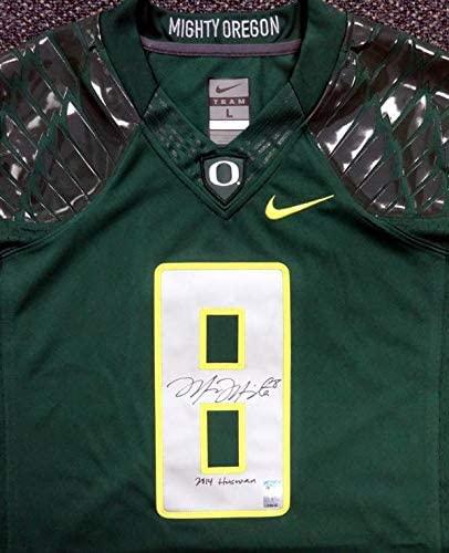 Oregon Ducks Marcus Mariota Autographed Green Nike Jersey