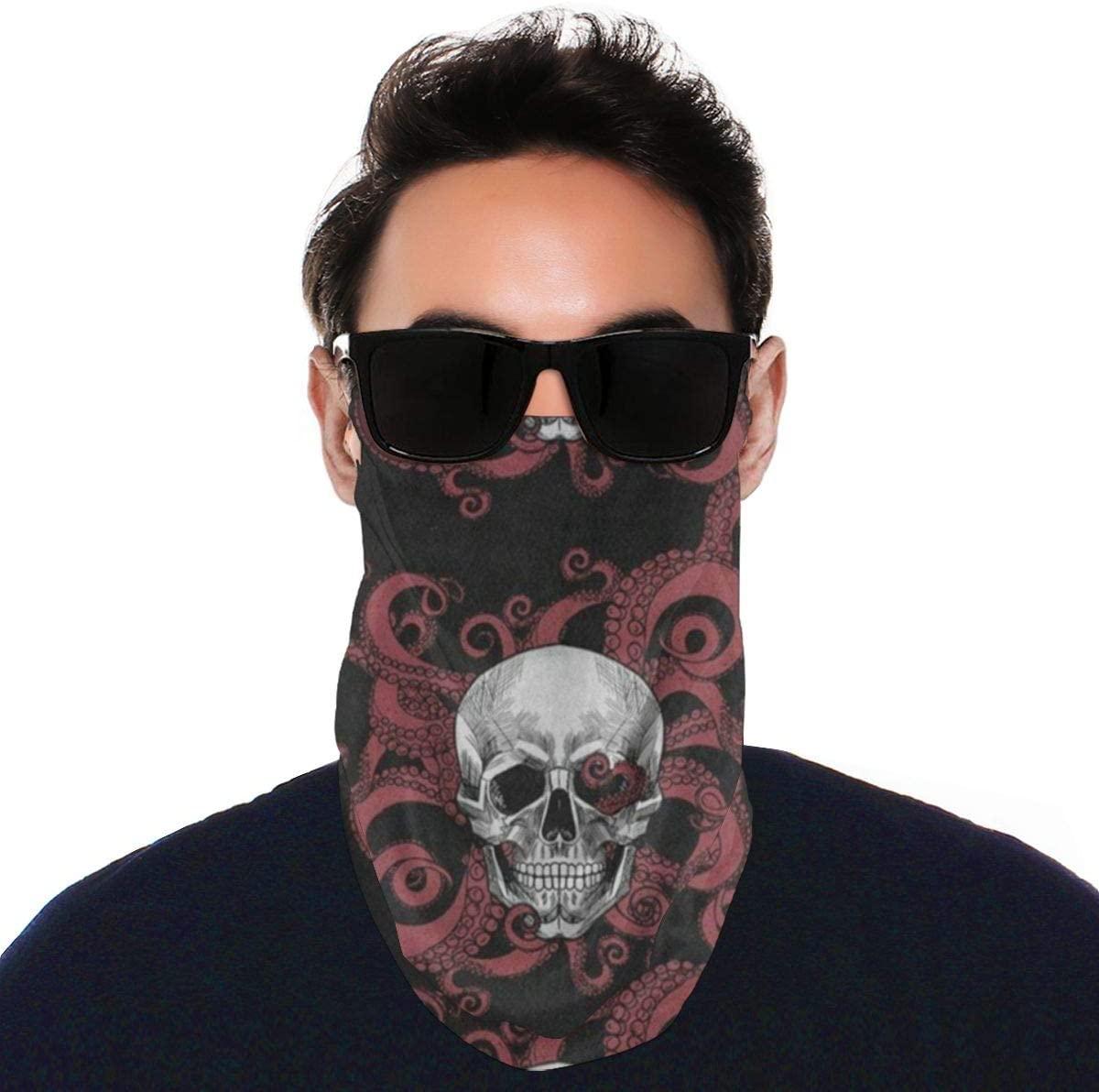 N\ A Summer Uv Balaclava Loop Face Mask Watercolor Halloween Skull Large Earloop Sun Protection Neck Gaiter Face Mask Cover Bandanas for Men Women Adults