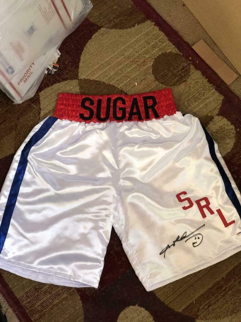 Sugar Ray Leonard Boxing Shorts Trunks Signed Autographed Autograph Auto - PSA/DNA Certified - Autographed Boxing Robes and Trunks