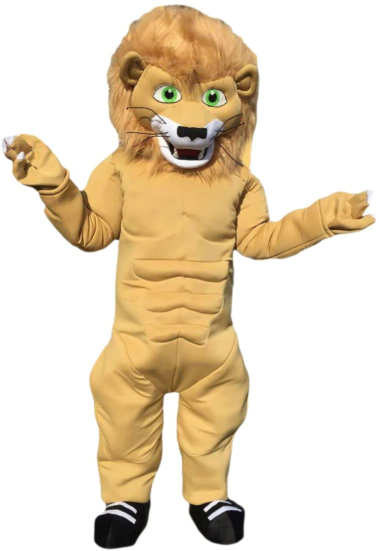 Strong Muscular Lion Mascot Costume Cartoon Character Adult Sz Real Picture