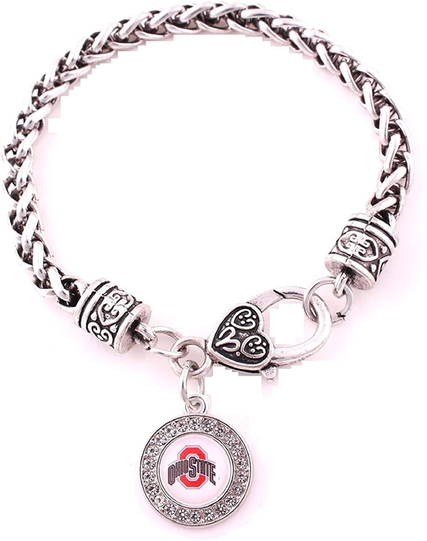 BAS Ohio State Buckeyes Zinc Alloy Bracelet with Round Rhinestone Buckeyes Charm 7 inch