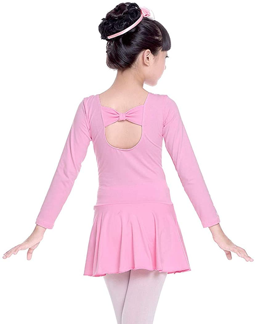Nayiya Girls' Skirted Long Sleeve Leotard Cotton Back Bowknot Ballet Dress 3-8T