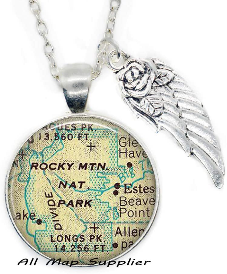 AllMapsupplier Fashion Necklace Rocky Mountain National Park map Necklace,Rocky Mountain map Pendant Charm,map Jewelry,A0097