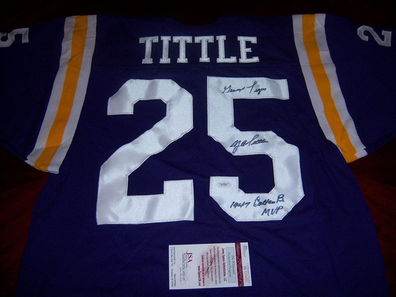Autographed Y.A. Tittle Jersey - Ya Lsu Tigers hof Jsacoa - Autographed NFL Jerseys