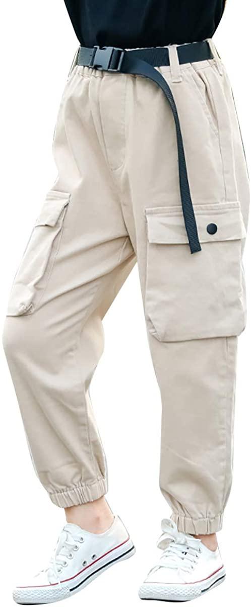 Freebily Kids Girls Hiking Camping Outdoor Quick Dry Pockets Cargo Pants Baggy Jogger Lightweight Workout Causal Pants