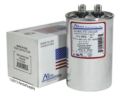 Service First CPT01233 / CPT-1233 • 70 uf / Mfd Replacement Round Universal Capacitor • AmRad USA2228 - used for 370 or 440 VAC , Made in the U.S.A.