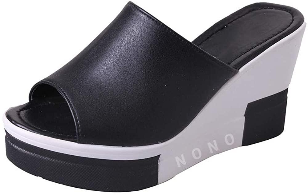 HIRIRI Womens Platform Wedge Sandals High Heel Slip on Peep Toe Cork Mules Slides on Slipper Dress Shoes