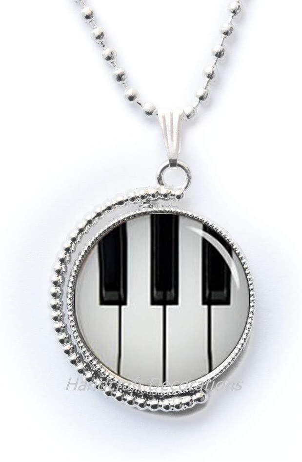 Piano Necklace Black and White Keyboard Pendant-Music Jewelry-Glass Dome Art Pendant,Photo Pendant Art Pendant Photo Jewelry.F072