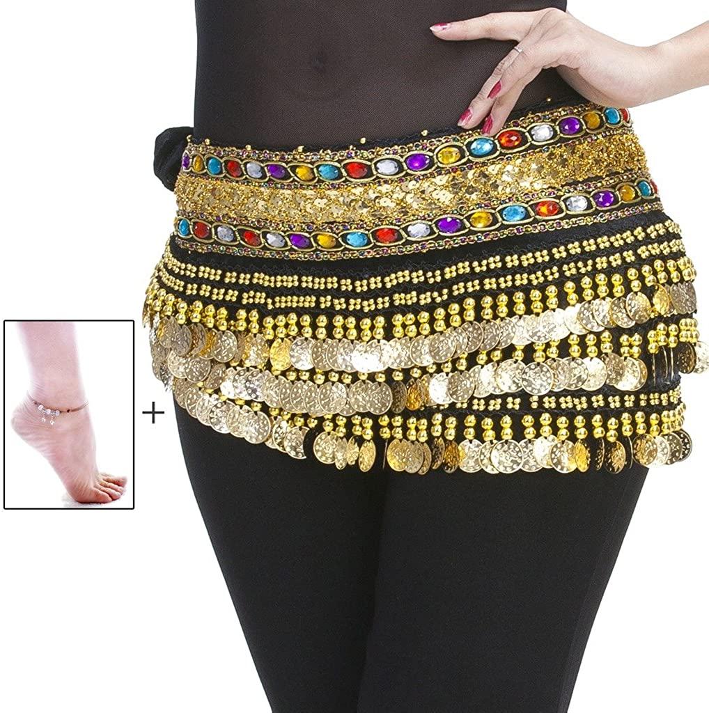 Mutreso Belly Dance Hip Scarf with 248 Gold Coins 150cm Colorful Gem Belt Profession Velvet Performance Skirt Hip Wrap