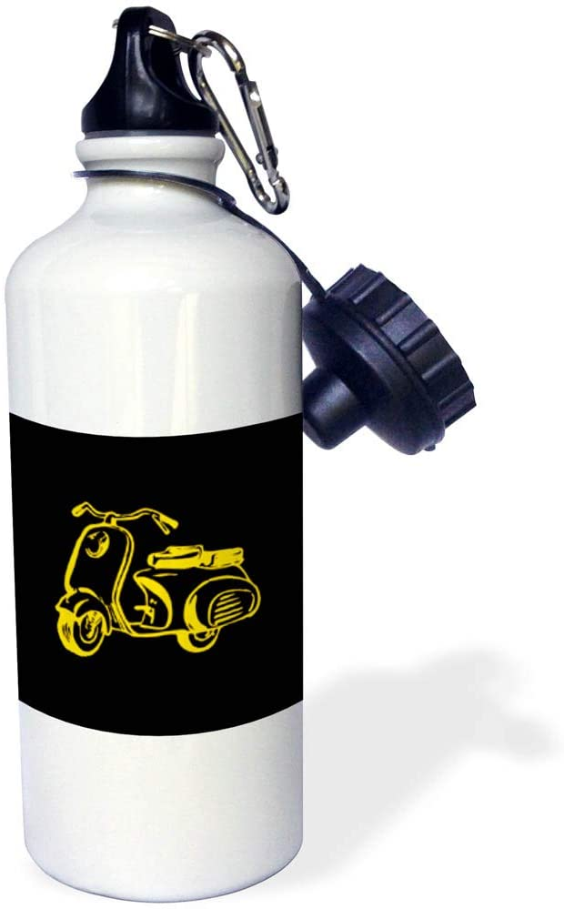 3dRose Alexis Design - Transport Motorcycles - Elegant Vintage Motor Scooter Silhouette. Yellow on Black Gift, Charm - 21 oz Sports Water Bottle (wb_324606_1)