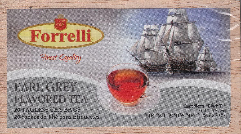 Forrelli Wooden Slide Top Box Tea - 20 Tagless Tea Bags (Earl Grey)