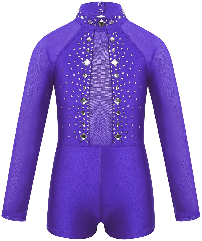 Agoky Kids Girls Sparkly Tulle Backless Gymnastics Leotard Ballet Dance Unitard Bodysuit Athletic Biketard Dancewear