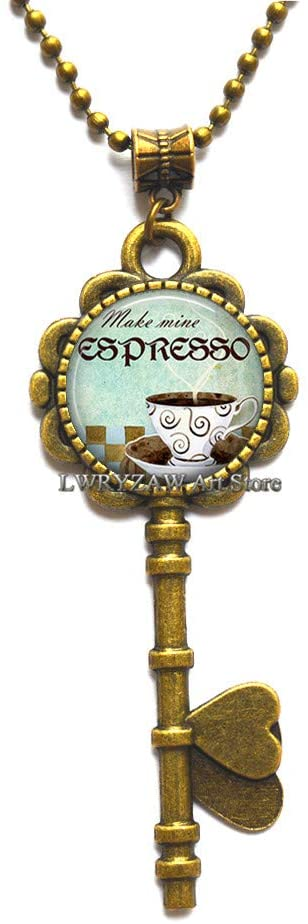 Espresso Key Necklace, Coffee Lover Pendant, Coffee Key Necklace, Barista Pendant Java Jewelry Gift for Coffee Shop emploee Key Necklace,M384