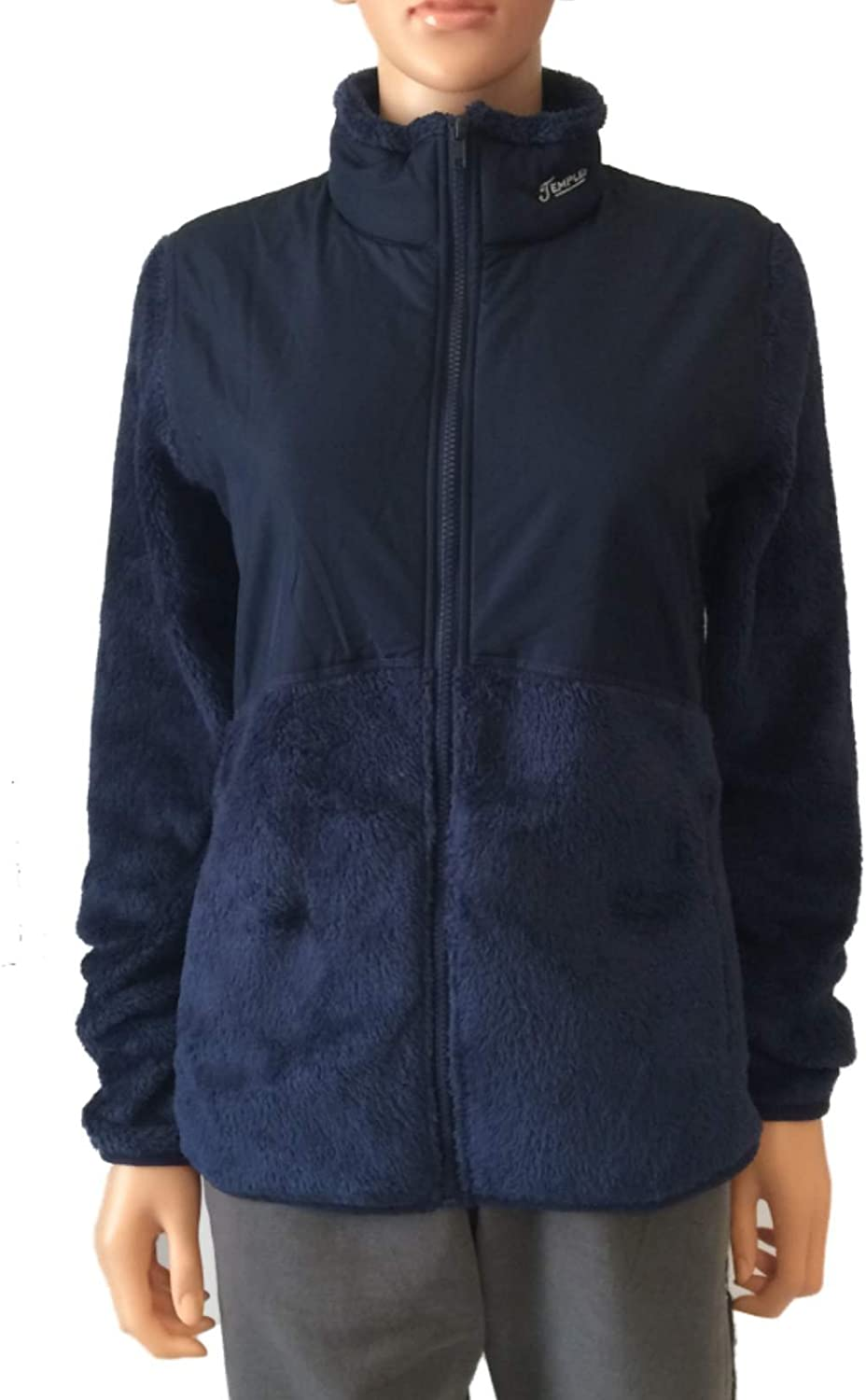 Gear for Sports Temple Owls GFS Womens Navy LS Full Zip Furry Jacket with Pockets (M)