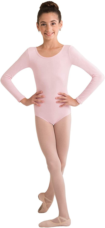 Body Wrappers Girls Organic Cotton Long Sleeve Leotard (LIGHT PINK, 2-3) - OGC126