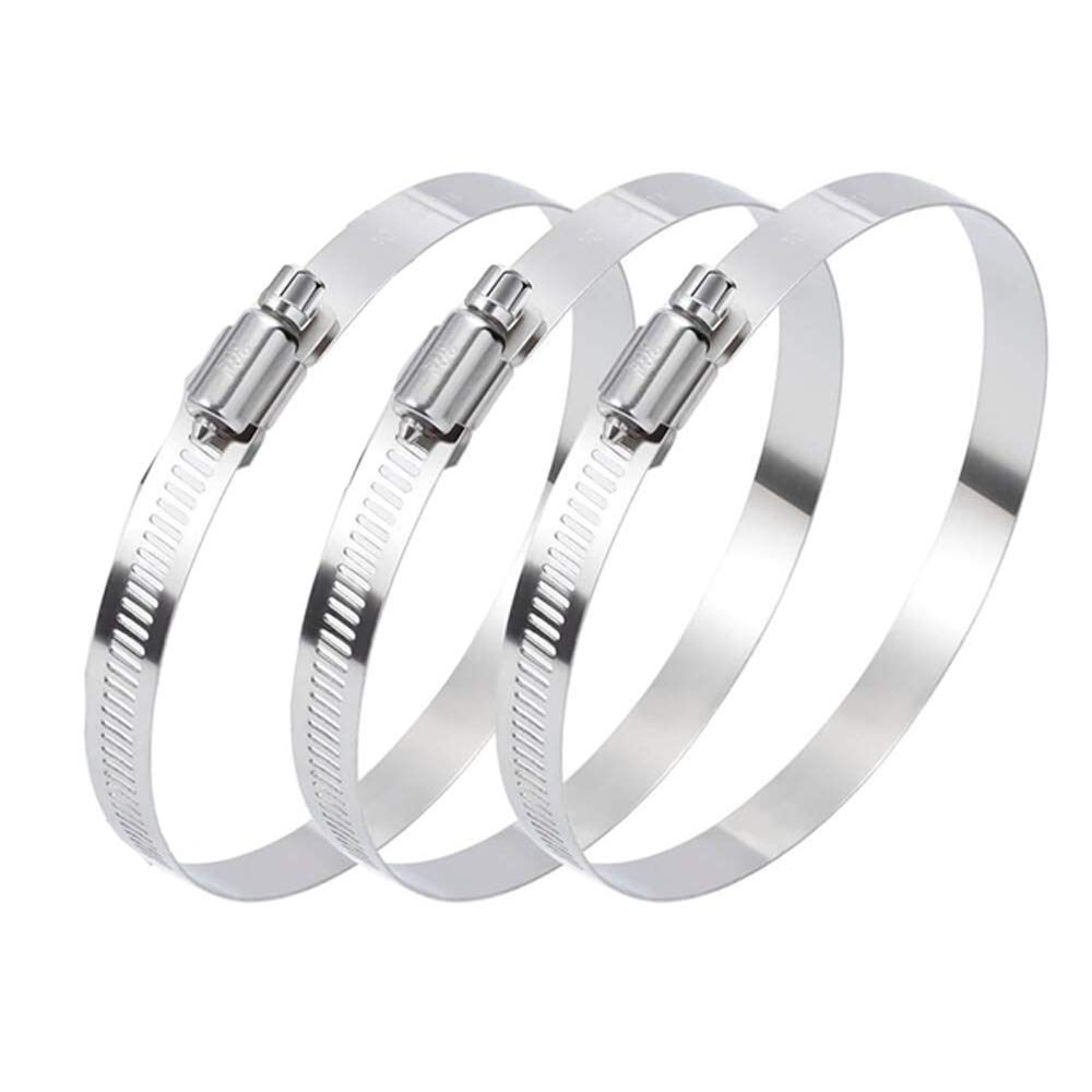 Worm Gear Hose Clamp, 3 Inch Stainless Steel Large Hose Clamp Adjustable 52-76mm Range for Plumbing Dryer Vent Automotive Mechanical Agriculture Household, Duct Clamp,Pack of 3