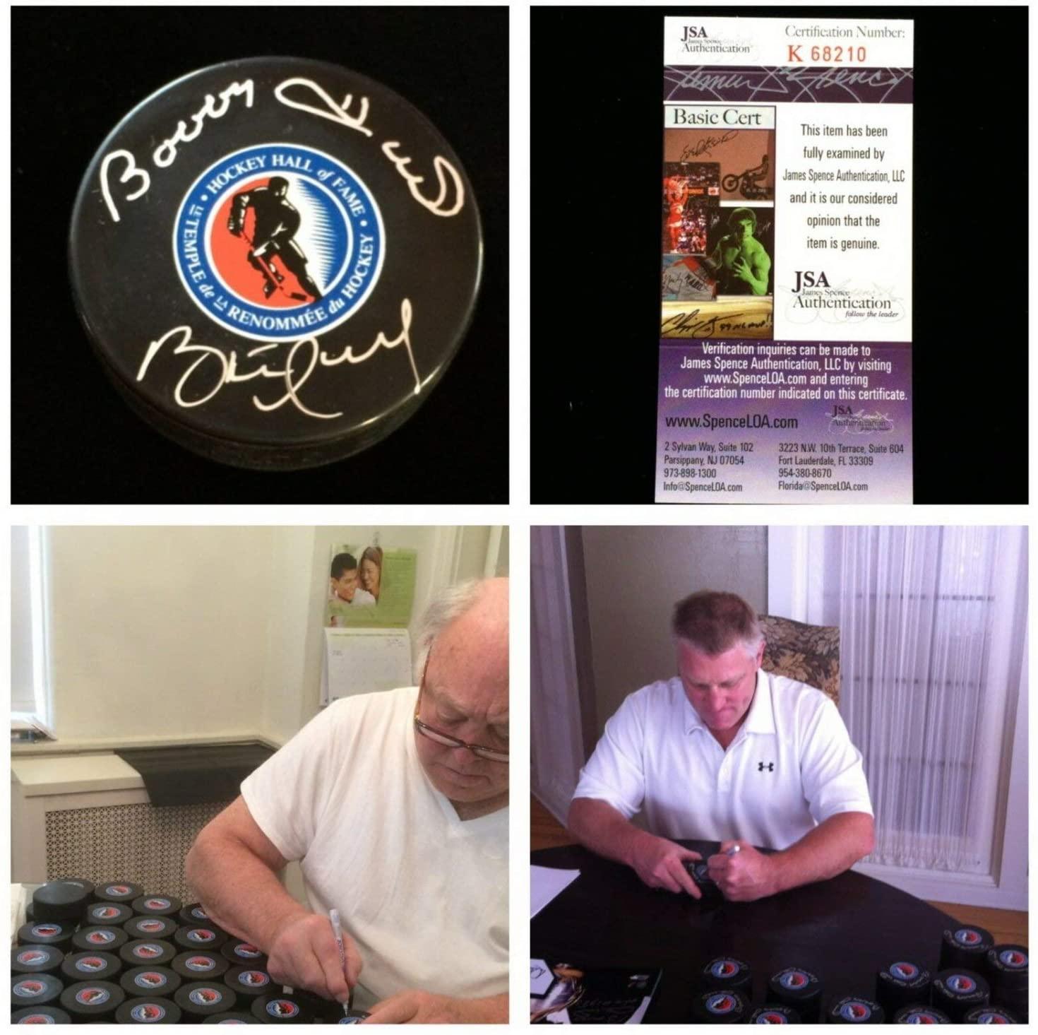Bobby Hull Autographed Signed Brett Hull Chicago Blackhawks Autograph Hockey Puck JSA