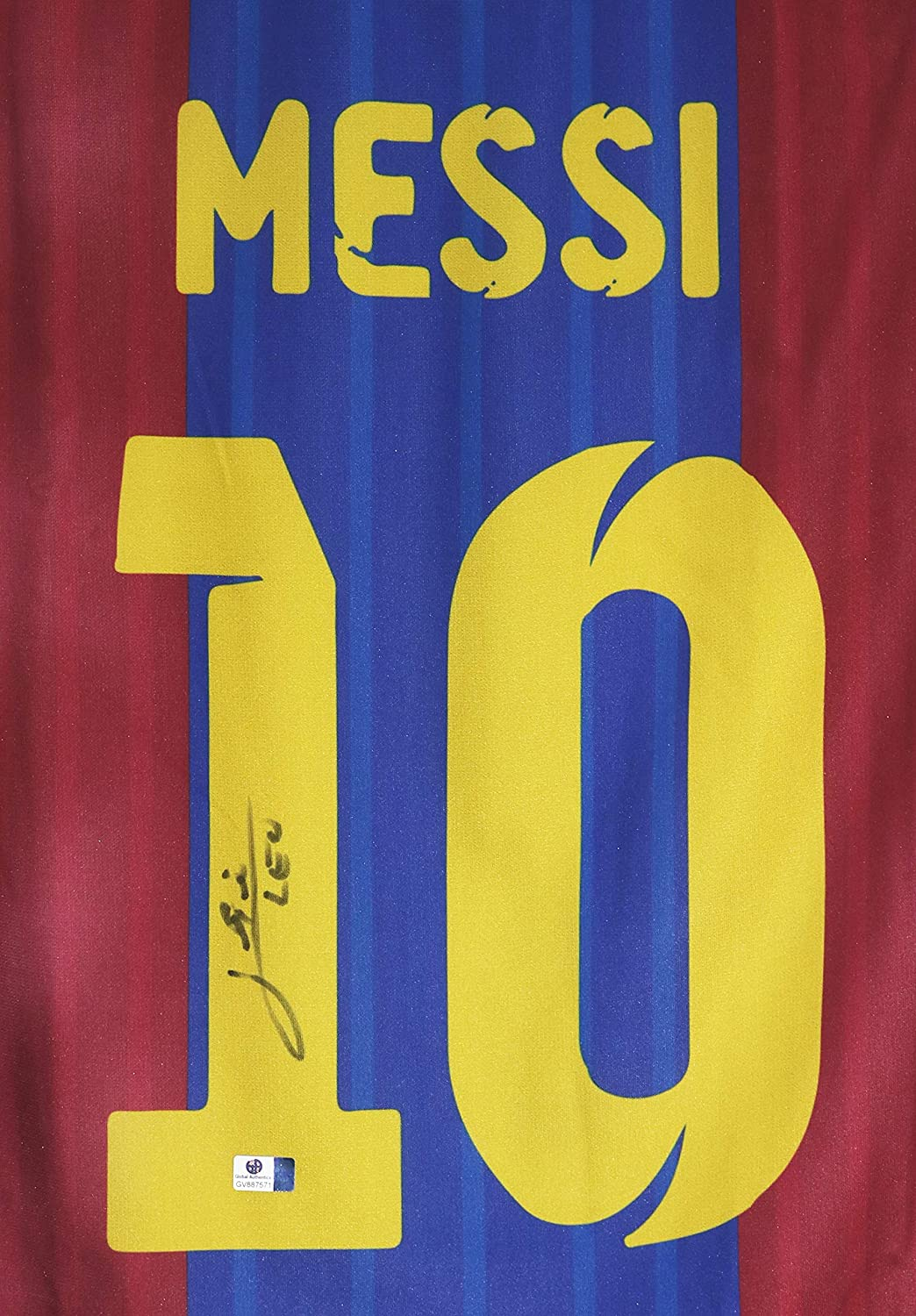 Lionel Messi Signed Autographed Barcelona Blue and Red Custom Jersey COA