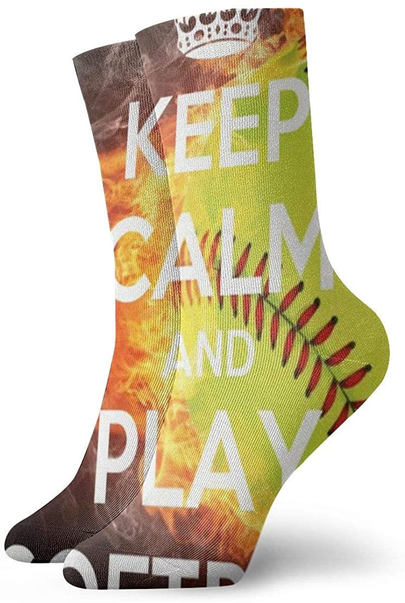 Game Life Crew Socks Keep Calm And Play Softball Men Women Sock Casual Socks
