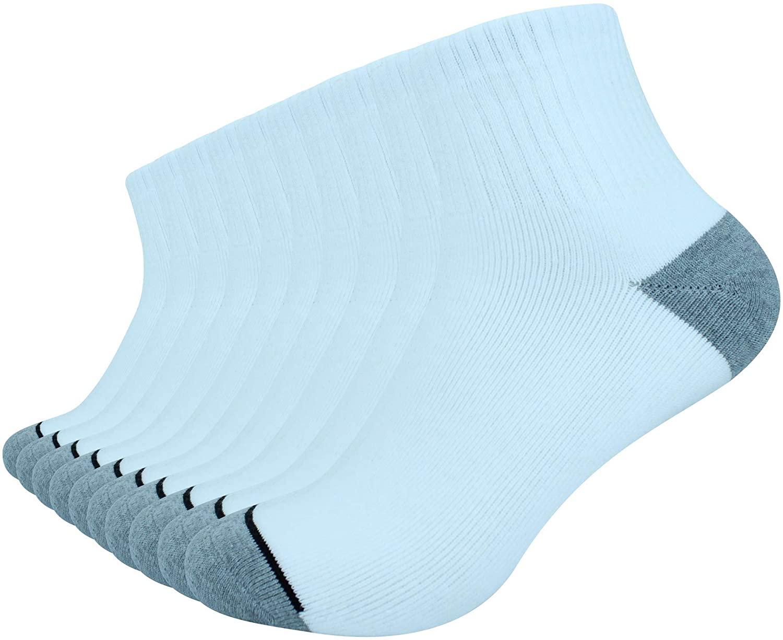 oBolvs Men's 10P Pack Cotton Moisture Wicking Heavy Cushion Work Sports Low Cut or Crew Socks
